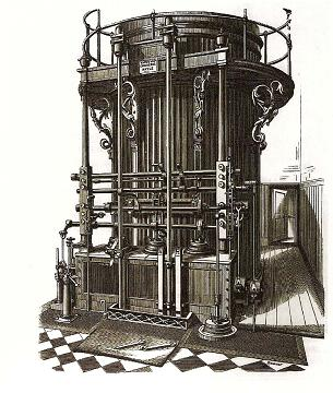 A Bull engine, as illustrated in the 1884 catalogue of Harvey & Co.