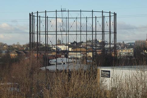 Gasholder in Lower High Street, Watford. © Kate Quinton