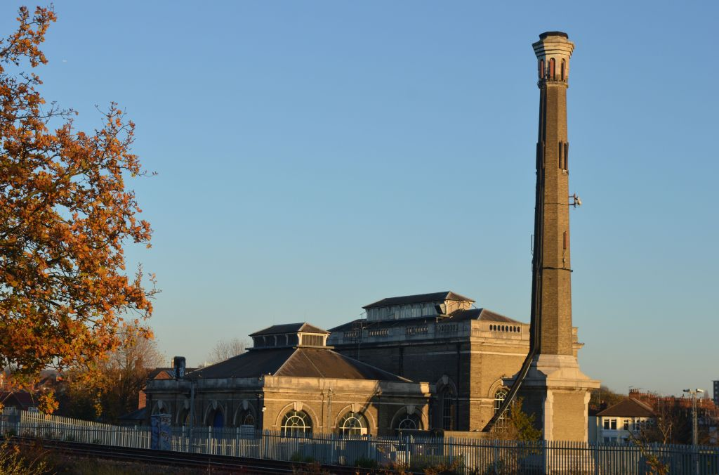 Cricklewood pumping station from north, across railway lines