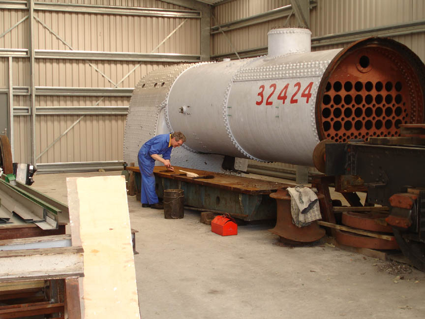 Atlantic boiler in its new home in Atlantic House construction shed © 'Bluebell Atlantic Project'