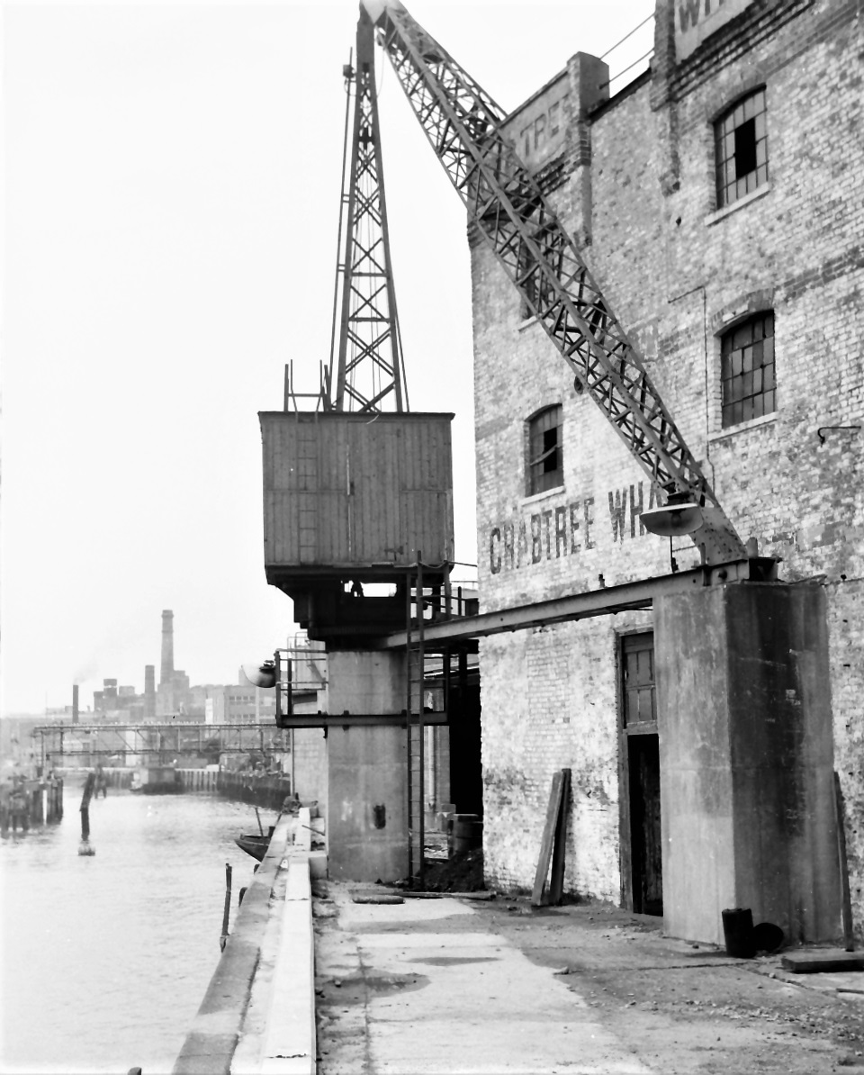 Crabtree Wharf on Fulham Reach, 1972, looking north © Michael Bussell 1972
