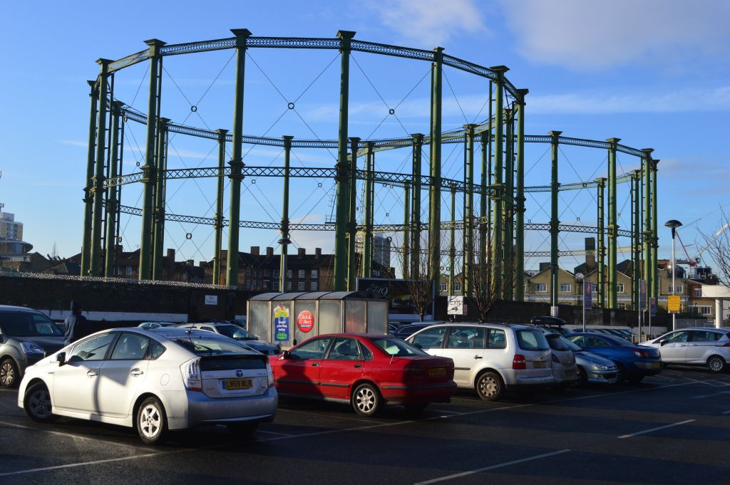 Kennington Oval gas holders 4 (right) & 5, from Tesco car park. 2014