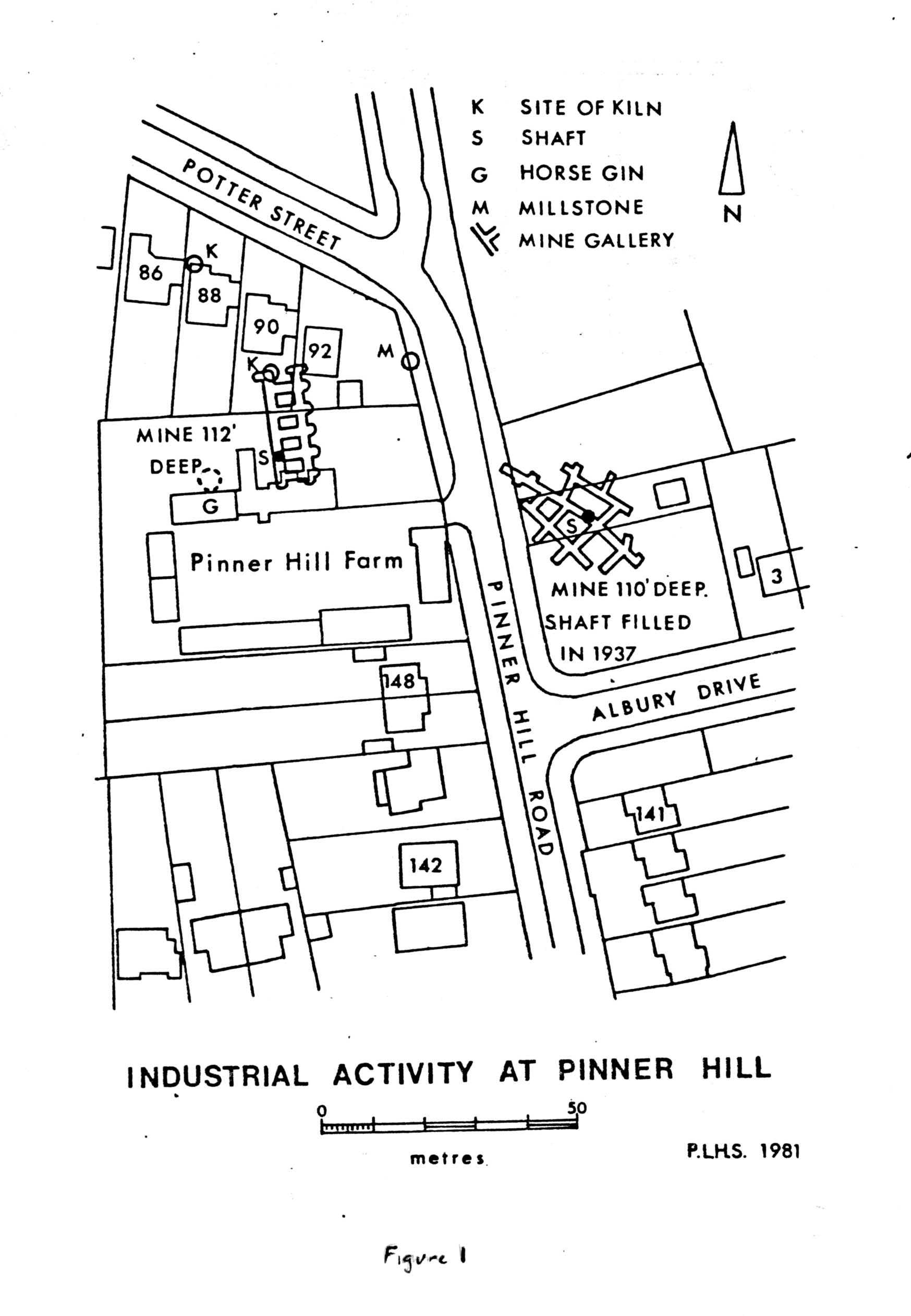 Fig 1. Industrial activity at Pinner Hill. PLHS, 1981