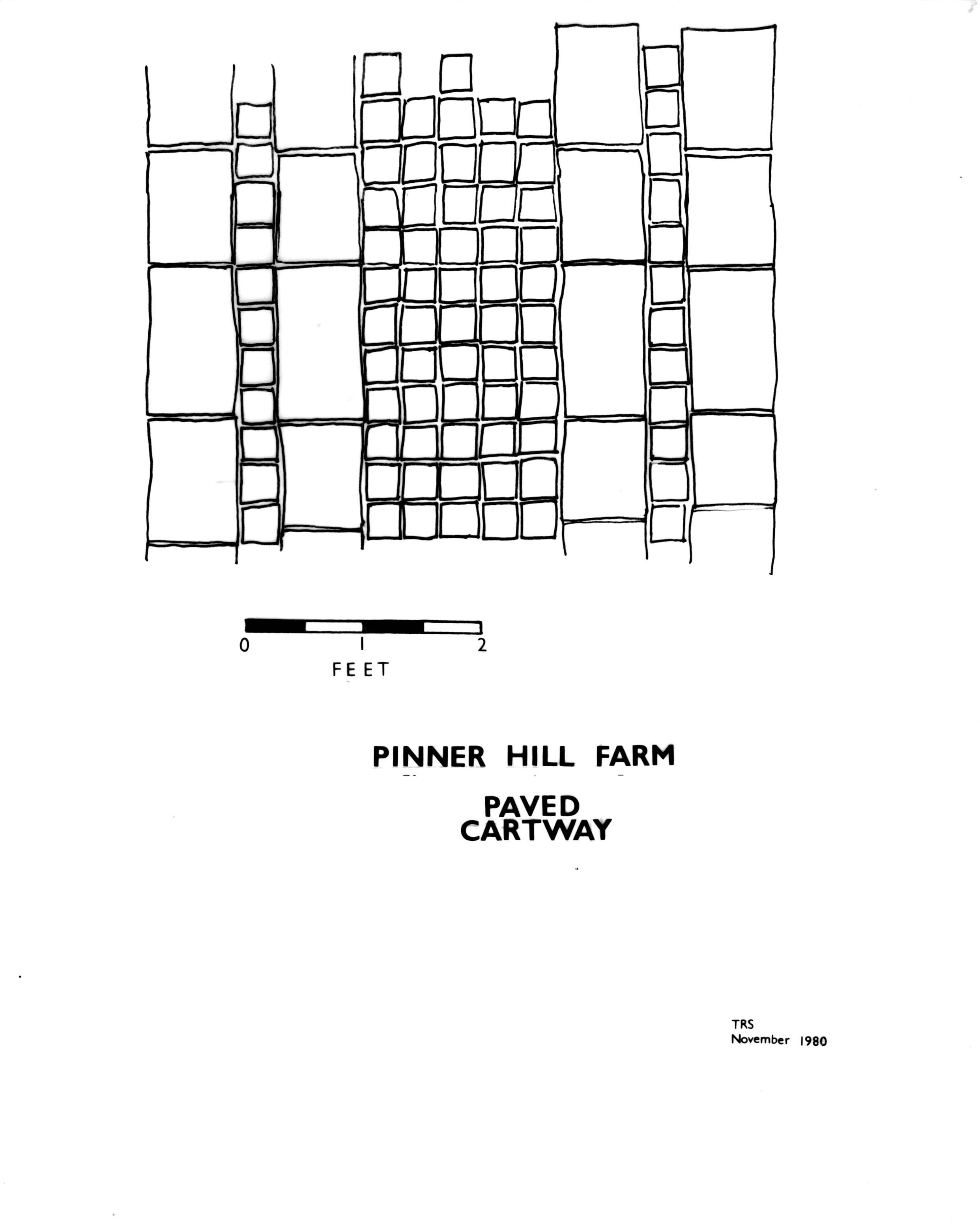Fig 3. Pinner Hill Farm paved cartway. TRS, November 1980