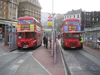 Routemaster buses at Victoria station. © Robert Mason