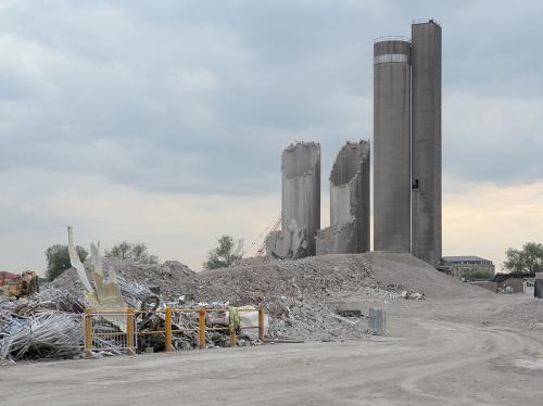 Most of the demolition took place using a long-reach cruncher. Silo remains on 2 August 2010, © Robert Carr.