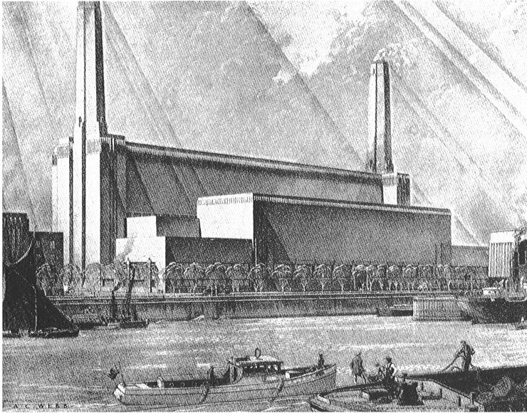 The original design of Bankside power station, 1945 (© Royal Institute of British Architects)