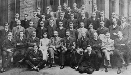 Manchester University Chemistry Department 1911. Weizmann is seated front row fifth from the left. W.H. Perkin is seated immediately to his left. (Copyright of the University of Manchester)