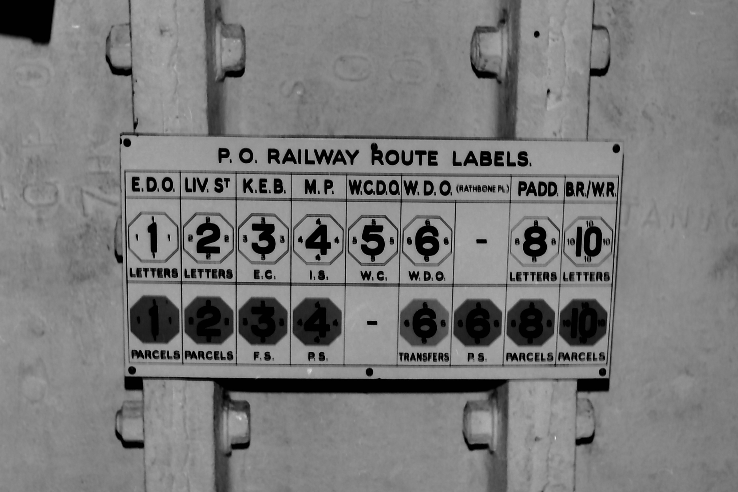 Labelling codes for the various sorting offices along the route � Michael Bussell 1976