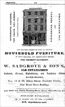 W Sadgrove & Sons advert, Robson's London Directory 1833